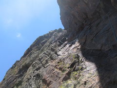 Rock Climbing Photo: The 6th pitch traverse showing sufficient protecti...