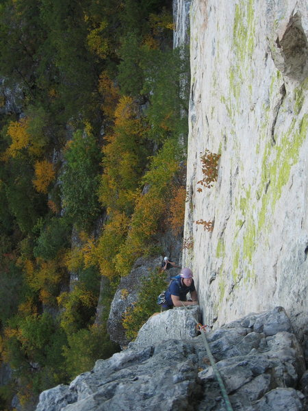 Matt coming over the bulge (crux) on pitch #2