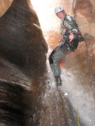 The first rappel of Keyhole Canyon in Zion National Park, Utah, USA.