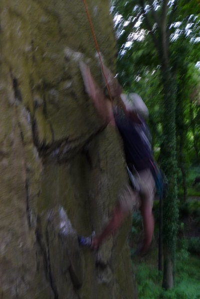 Rock Climbing Photo: Caught in mid fall. Unknown 5.10 climb on the NWB.