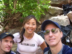 Rock Climbing Photo: Levi, Susie and Mike waiting to begin 1st Flatiron...