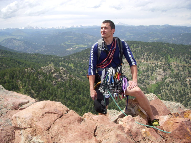 Levi reminiscing about a perfect day in climbing paradise, 1st Flatiron June 2009
