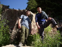 Rock Climbing Photo: Dustin & Levi on the steep hike to Rerwritten