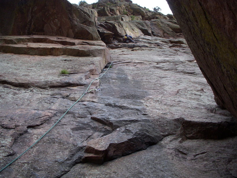 Rock Climbing Photo: Levi leading the way on the 1st pitch of Calypso