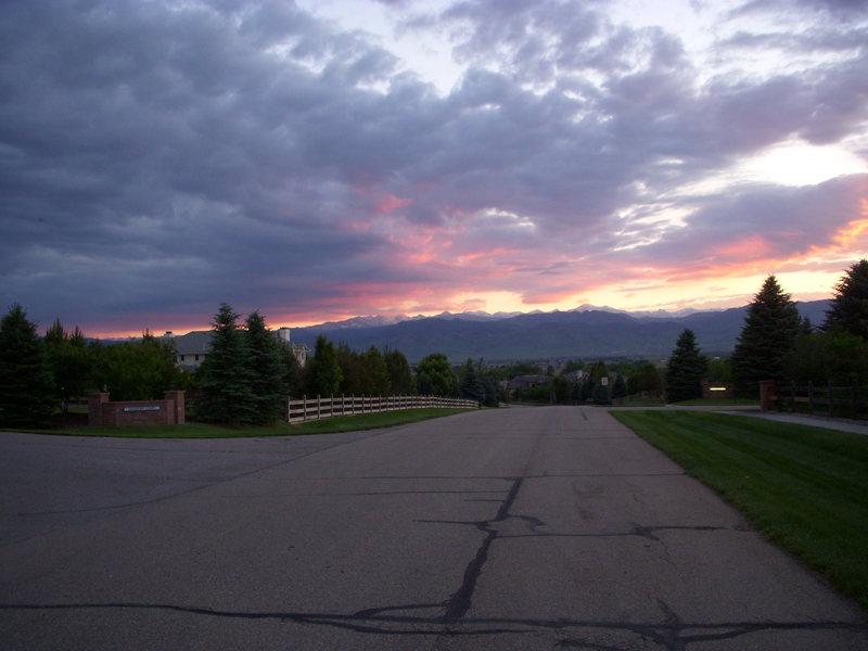 Sunset over Boulder shot from Niwot