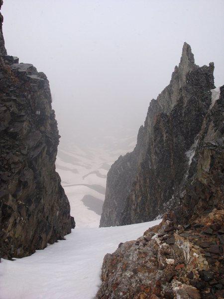 Looking through notch in American Peak ridge into American Basin