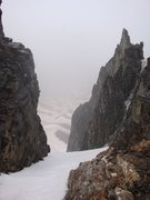 Rock Climbing Photo: Looking through notch in American Peak ridge into ...