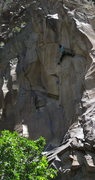 Rock Climbing Photo: Peter Kohl committing to the steep section of fing...