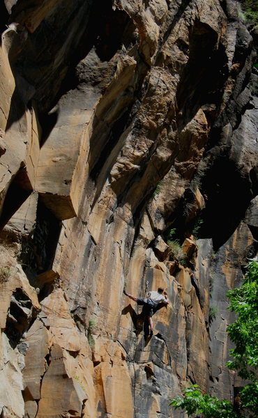 Rock Climbing Photo: Josh Janes dealing with the vert crux on his onsig...