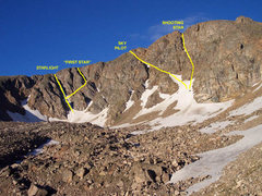 Rock Climbing Photo: Snow Climbing Routes on James Peak (Edited from po...