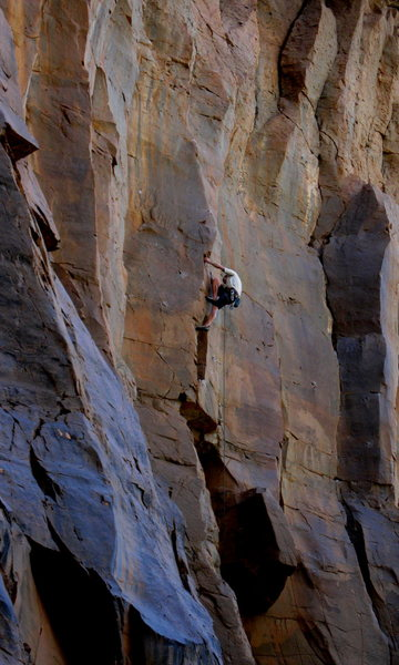 Rock Climbing Photo: Josh Janes nailing the moves on his onsight second...