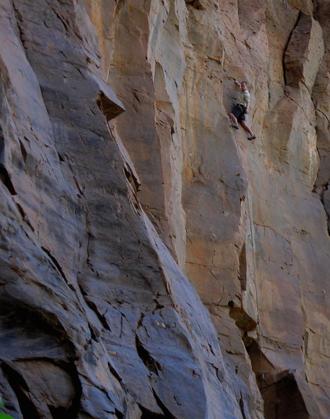 Rock Climbing Photo: Josh, enjoying the view on an onsight second ascen...
