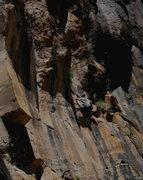 Rock Climbing Photo:  Josh moving into the crux...
