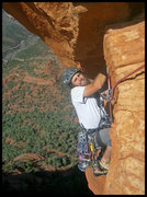 Rock Climbing Photo: Cody on the airy finish to Wild Wild West.