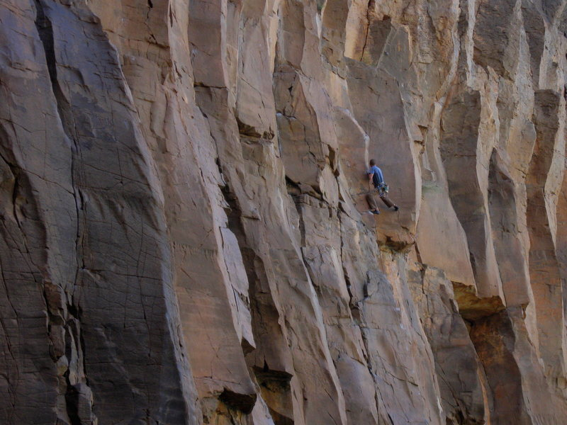 Rock Climbing Photo: Wade Forrest moving into the crux.