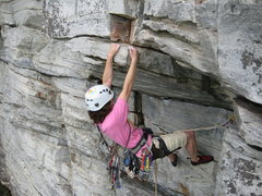 Rock Climbing Photo: Elyse sending the roof- pretty steep for 5.7!!