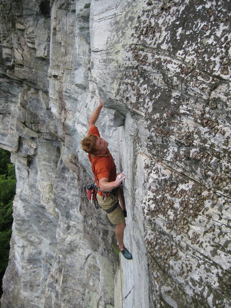 Rock Climbing Photo: beginning the crux moves of the direct finish