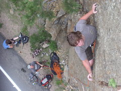Rock Climbing Photo: Mr. Wix passing the crux, onto the runout 5.8 crac...