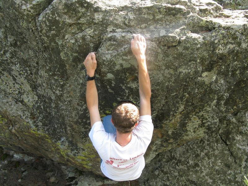 Rock Climbing Photo: Reggie on the finishing Jugs