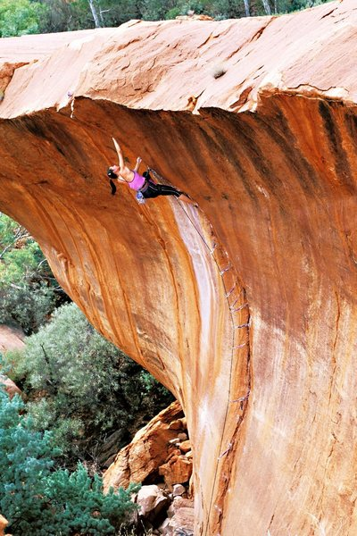 Vanessa Peterson on the 2nd ascent of the wave (25, 5.12b), Nomad Springs WA