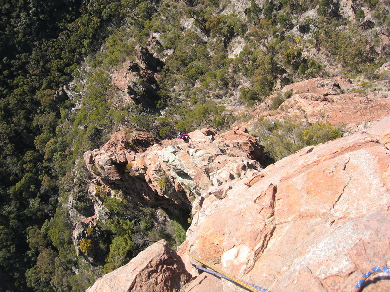 Rock Climbing Photo: Looking down pitch 5 of Cornerstone Rib (14 5.7) C...