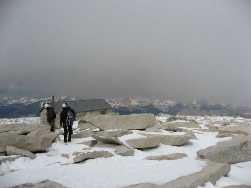 Top of the East Buttress of Mount Whitney looking West to the warming hut. June 18th 2009