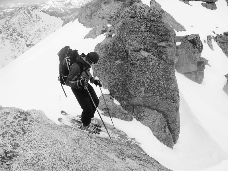 Rock Climbing Photo: Dropping near the main summit bowl.