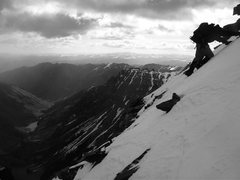 Rock Climbing Photo: Downclimbing S.Maroon back into the Bell Cord Coul...