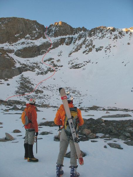 Rock Climbing Photo: Our line of ascent on the Snave on 6/23/2009.  Pho...