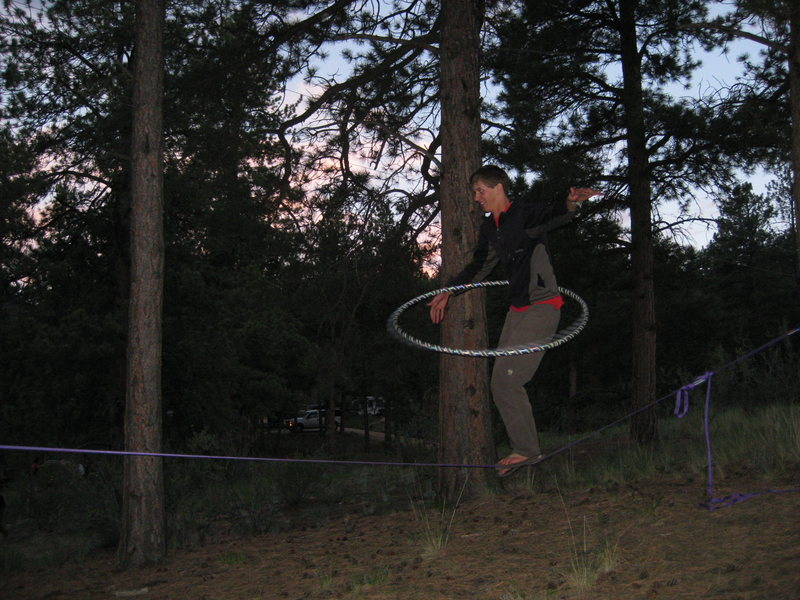 Matt on slackline at 11 mile