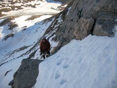 Rock Climbing Photo: Taking the Brute variation to gain the couloir.  P...