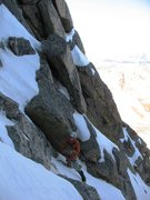 Rock Climbing Photo: Upper couloir, at the 4th class section.