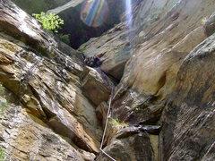 Rock Climbing Photo: Suicide Blond, p2, Big South Fork, TN