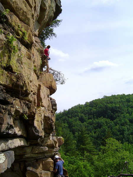 Scott Perkins leading off or maybe belaying on something at Big South Fork, TN.