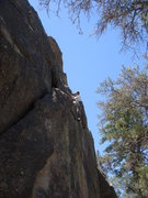 Rock Climbing Photo: Mike W heading for easier ground, midway up the Sk...