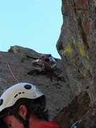 Rock Climbing Photo: leading up the last pitch