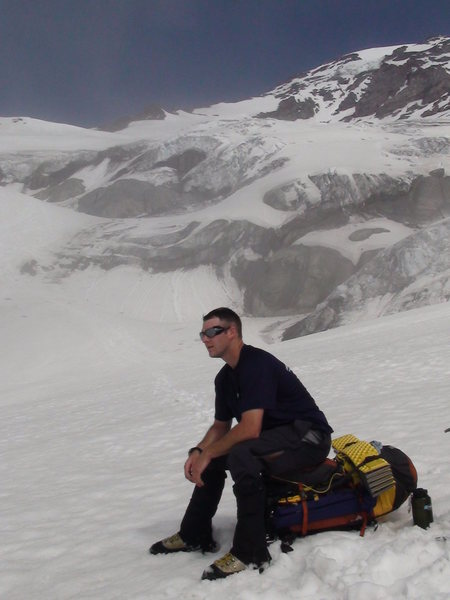 Scott just about to rope up for the nisqually Glacier