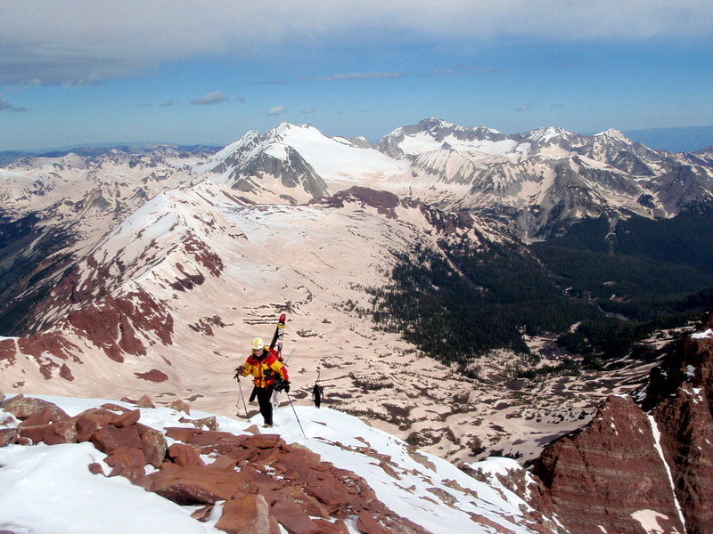 Mike Carr and Austin Porzak approaching the summit of North Maroon.  Photo taken by Beau Burris