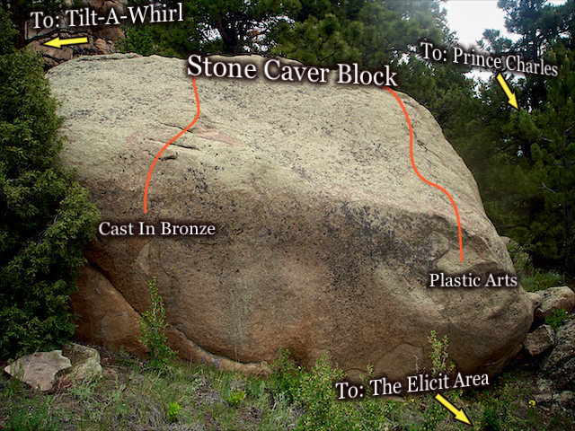 """Photo beta for the """"Stone Carver Block"""" located in the lower SOUTH/EASTERN saddle of the """"The Pass.""""  Three Sisters Park, Colorado."""