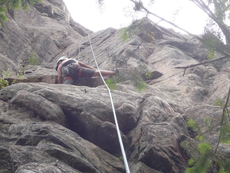 At the crux roof on a Top Rope lap.
