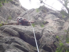 Rock Climbing Photo: At the crux roof on a Top Rope lap.