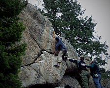 """Rock Climbing Photo: Justin Hausmann on the F.A. of """"Sickle."""""""