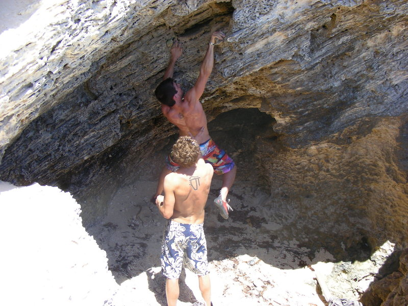 Rock Climbing Photo: Myself attempting the cave traverse