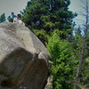 "Said gathering notes and marking some G.P.S. data atop the ""Child's Play"" boulder.  A little work and a little play!!"