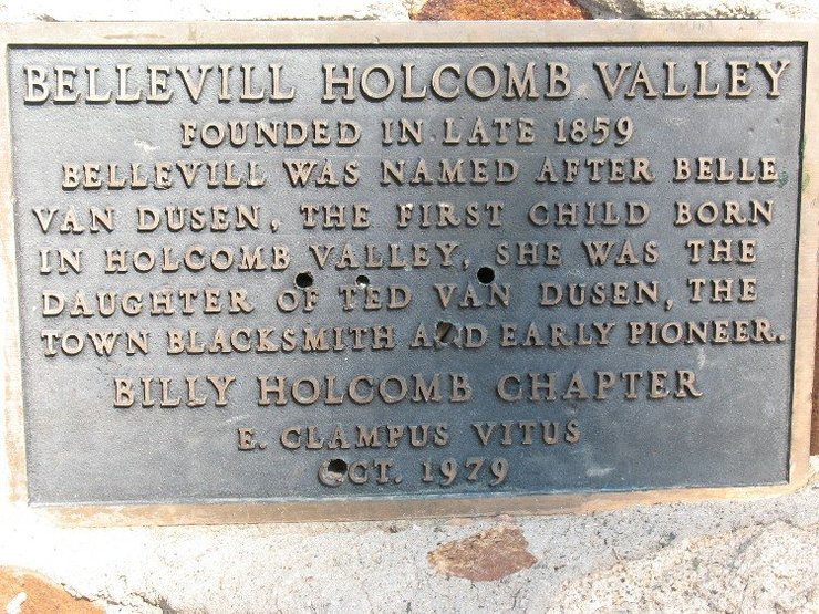 Historical marker for Belleville, Holcomb Valley.