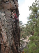 Rock Climbing Photo: Stephanie nearing the crux of Lady Luck (5.9), Hol...