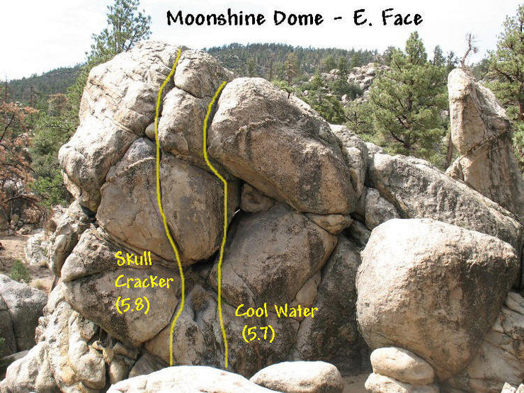 Photo/topo for Moonshine Dome - East Face, Holcomb Valley Pinnacles