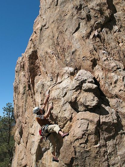 Rock Climbing Photo: Moving past the undercling section on Pistol Pete ...