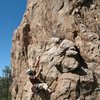Moving past the undercling section on Pistol Pete (5.10a), Holcomb Valley Pinnacles