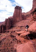 Rock Climbing Photo: Ben Kiessel on the traverse on pitch 4.  Though th...